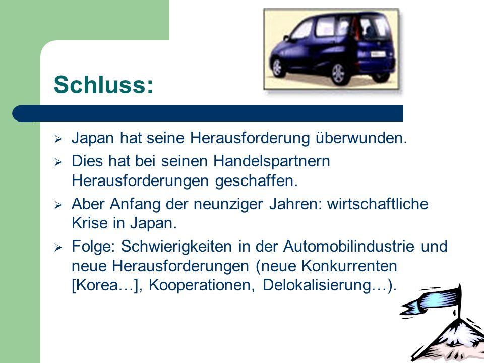 Schluss: Japan hat seine Herausforderung überwunden. Dies hat bei seinen Handelspartnern Herausforderungen geschaffen. Aber Anfang der neunziger Jahre