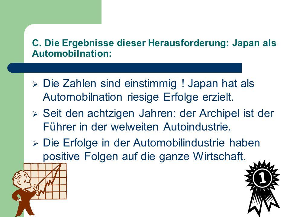 C. Die Ergebnisse dieser Herausforderung: Japan als Automobilnation: Die Zahlen sind einstimmig ! Japan hat als Automobilnation riesige Erfolge erziel