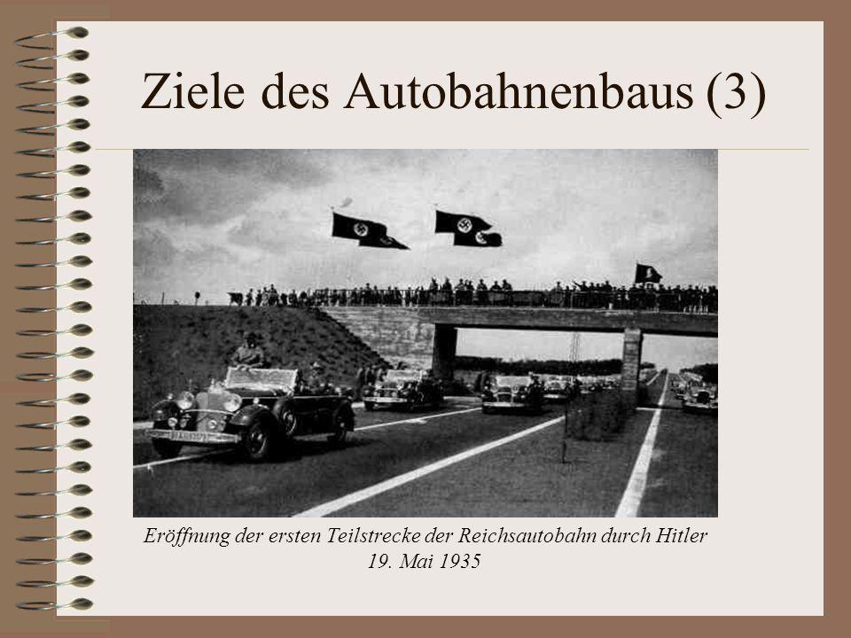 Ziele des Autobahnenbaus (3) Eröffnung der ersten Teilstrecke der Reichsautobahn durch Hitler 19. Mai 1935