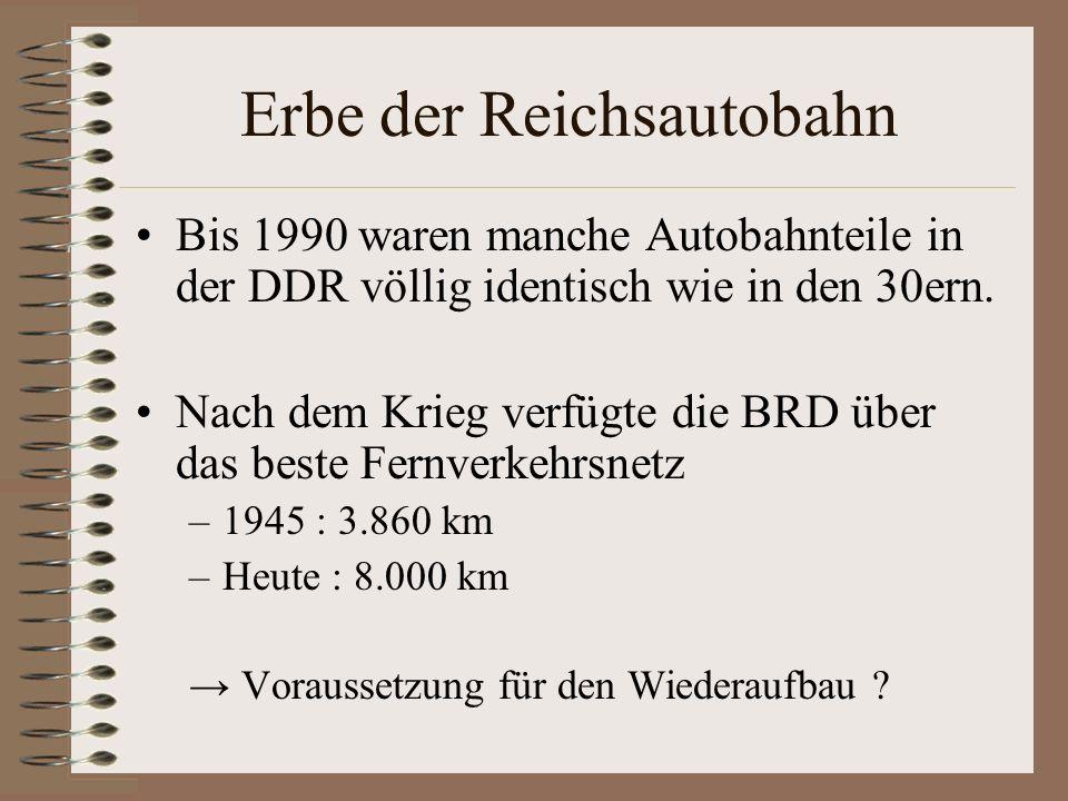 Erbe der Reichsautobahn Bis 1990 waren manche Autobahnteile in der DDR völlig identisch wie in den 30ern. Nach dem Krieg verfügte die BRD über das bes