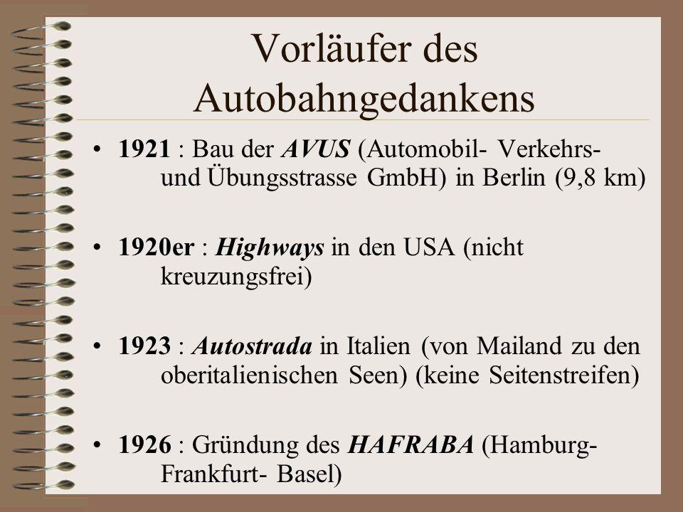 Vorläufer des Autobahngedankens 1921 : Bau der AVUS (Automobil- Verkehrs- und Übungsstrasse GmbH) in Berlin (9,8 km) 1920er : Highways in den USA (nic