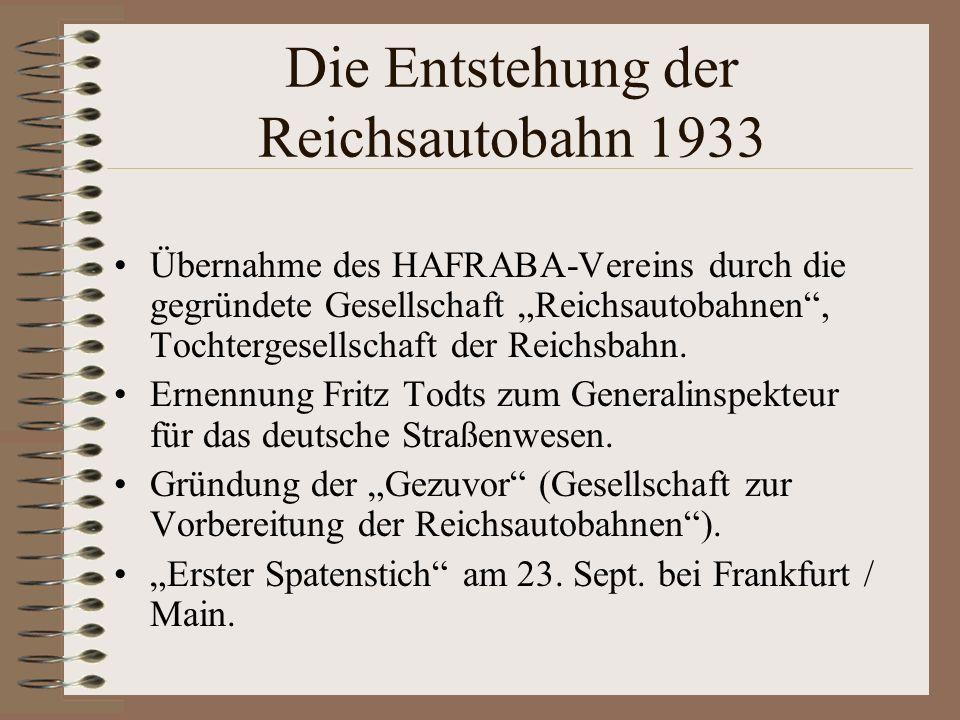 Die Entstehung der Reichsautobahn 1933 Übernahme des HAFRABA-Vereins durch die gegründete Gesellschaft Reichsautobahnen, Tochtergesellschaft der Reich