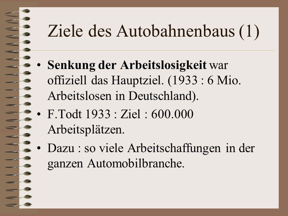 Ziele des Autobahnenbaus (1) Senkung der Arbeitslosigkeit war offiziell das Hauptziel. (1933 : 6 Mio. Arbeitslosen in Deutschland). F.Todt 1933 : Ziel