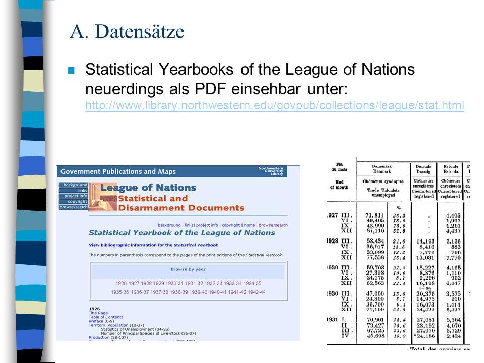 3 A. Datensätze n Statistical Yearbooks of the League of Nations neuerdings als PDF einsehbar unter: http://www.library.northwestern.edu/govpub/collec