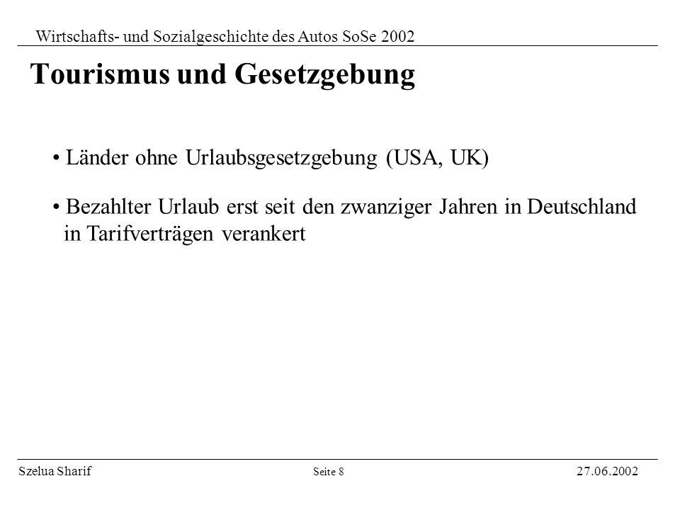 Szelua Sharif27.06.2002 Wirtschafts- und Sozialgeschichte des Autos SoSe 2002 Tourismus - Unberührte Landschaft und Geschichte als Leitbilder - Versuc