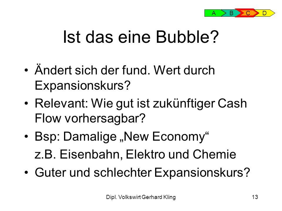Dipl. Volkswirt Gerhard Kling13 Ist das eine Bubble? Ändert sich der fund. Wert durch Expansionskurs? Relevant: Wie gut ist zukünftiger Cash Flow vorh