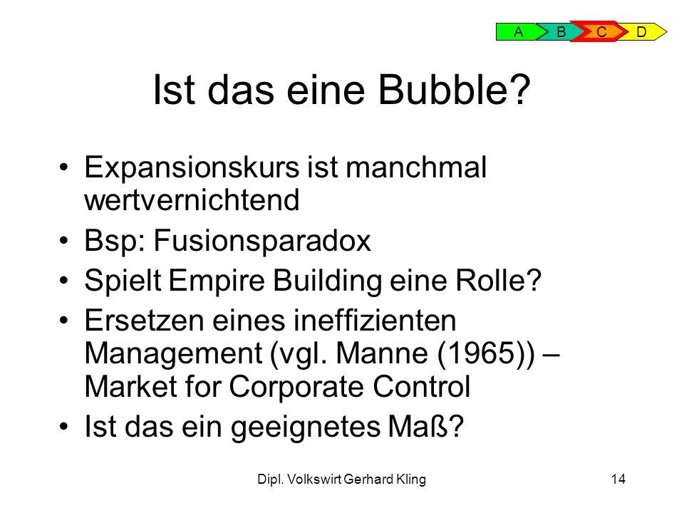 Dipl. Volkswirt Gerhard Kling14 Ist das eine Bubble? Expansionskurs ist manchmal wertvernichtend Bsp: Fusionsparadox Spielt Empire Building eine Rolle
