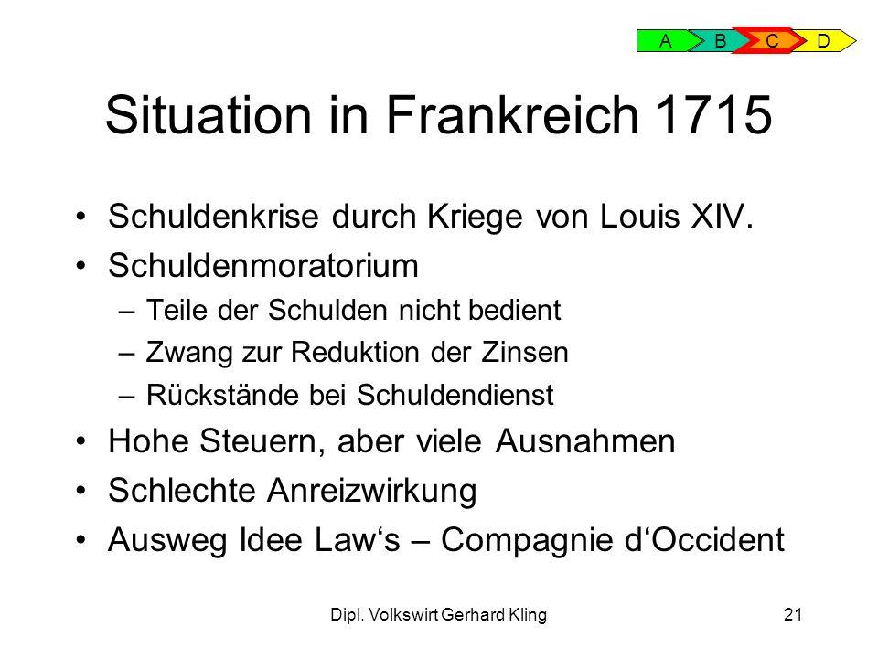 Dipl. Volkswirt Gerhard Kling21 Situation in Frankreich 1715 Schuldenkrise durch Kriege von Louis XIV. Schuldenmoratorium –Teile der Schulden nicht be