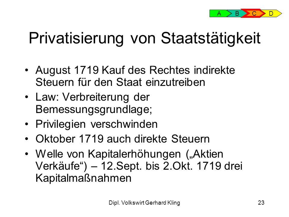 Dipl. Volkswirt Gerhard Kling23 Privatisierung von Staatstätigkeit August 1719 Kauf des Rechtes indirekte Steuern für den Staat einzutreiben Law: Verb