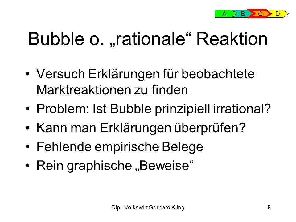 Dipl. Volkswirt Gerhard Kling8 Bubble o. rationale Reaktion Versuch Erklärungen für beobachtete Marktreaktionen zu finden Problem: Ist Bubble prinzipi
