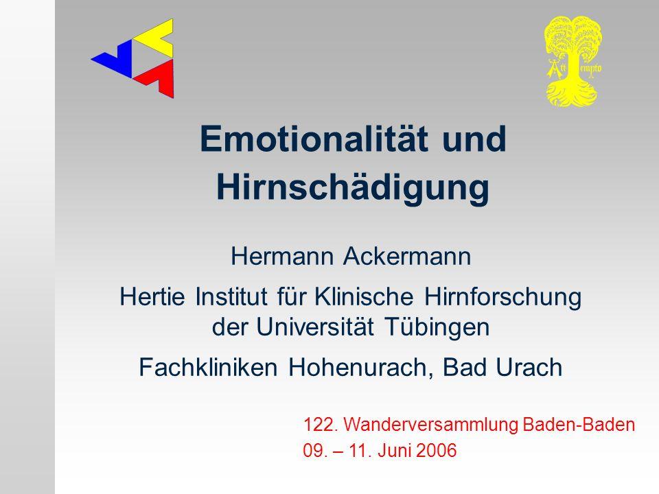 Emotionalität und Hirnschädigung: Orbitalhirnsyndrom Depression bei Schlaganfall (Klüver-Bucy-Syndrom etc.) ------------------------------------------------ auditory affective agnosia ------------------------------------------------ motorische Aprosodie anterior operculum syndrome Zwangslachen / -weinen