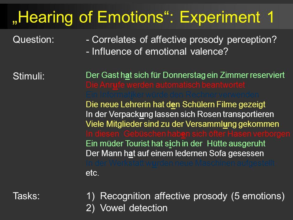 Tasks:1) Recognition affective prosody (5 emotions) 2) Vowel detection Der Gast hat sich für Donnerstag ein Zimmer reserviert Die Anrufe werden automa