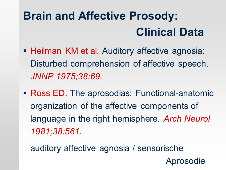 Brain and Affective Prosody: Clinical Data Heilman KM et al.