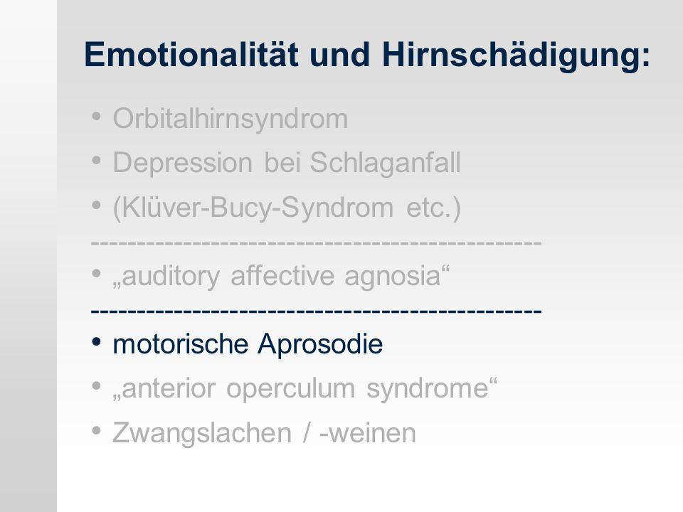 Emotionalität und Hirnschädigung: Orbitalhirnsyndrom Depression bei Schlaganfall (Klüver-Bucy-Syndrom etc.) ------------------------------------------