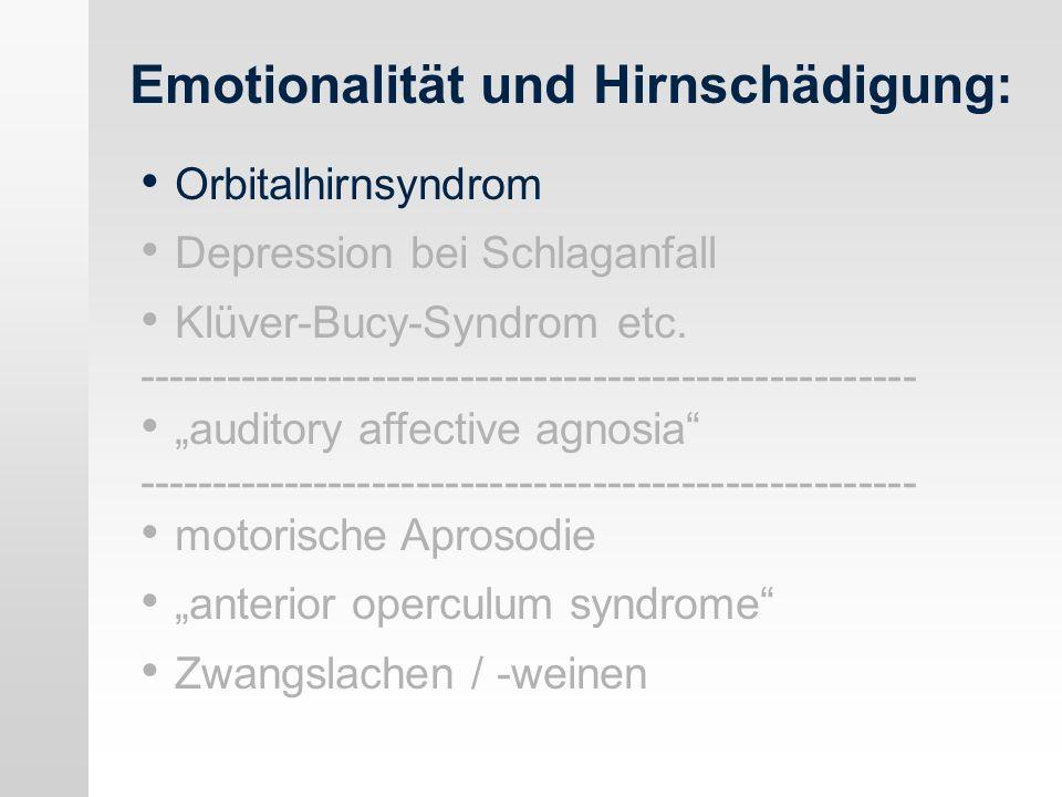 Depression: Lateralität / Lokalisation (I) Katastrophenreaktion (catastrophic reaction): Kurt Goldstein.