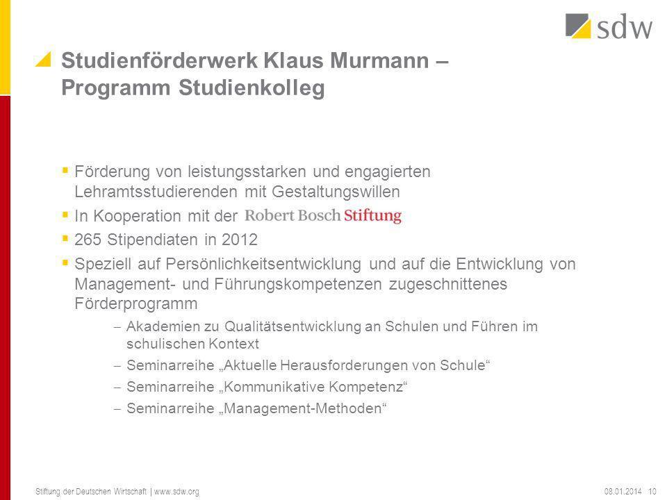 Förderung von leistungsstarken und engagierten Lehramtsstudierenden mit Gestaltungswillen In Kooperation mit der 265 Stipendiaten in 2012 Speziell auf