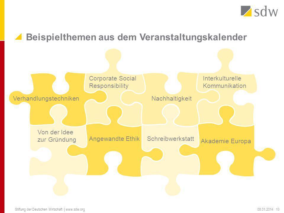Beispielthemen aus dem Veranstaltungskalender 08.01.2014 Stiftung der Deutschen Wirtschaft | www.sdw.org 13 Verhandlungstechniken Corporate Social Res