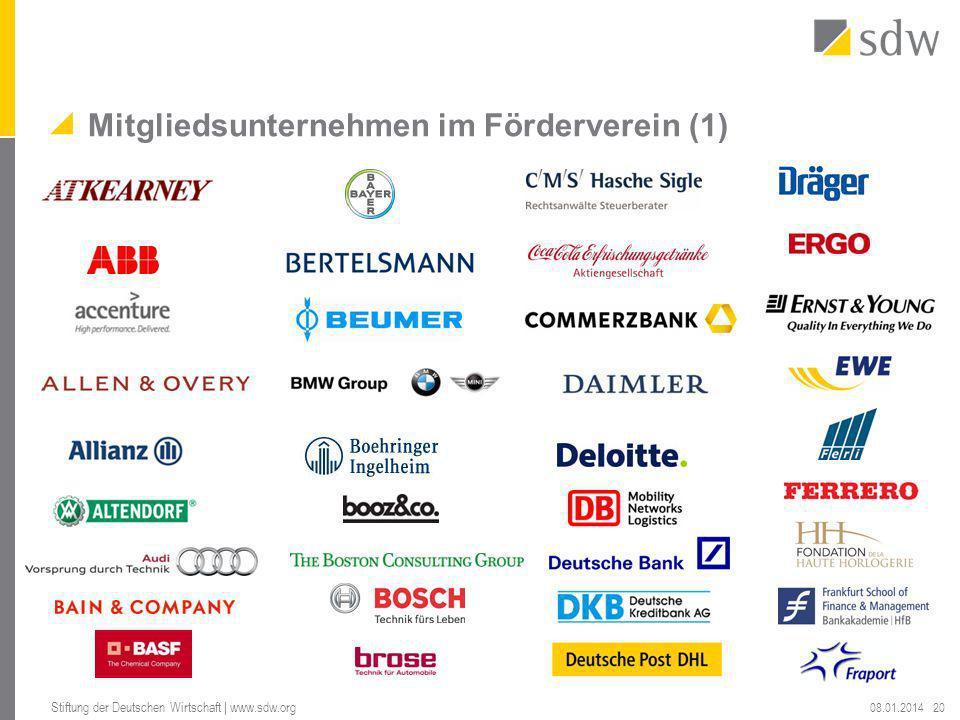 Mitgliedsunternehmen im Förderverein (1) 08.01.2014 Stiftung der Deutschen Wirtschaft | www.sdw.org 20
