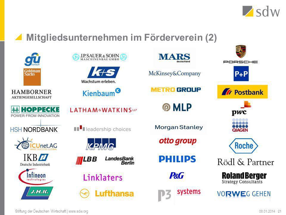 Mitgliedsunternehmen im Förderverein (2) 08.01.2014 Stiftung der Deutschen Wirtschaft | www.sdw.org 21