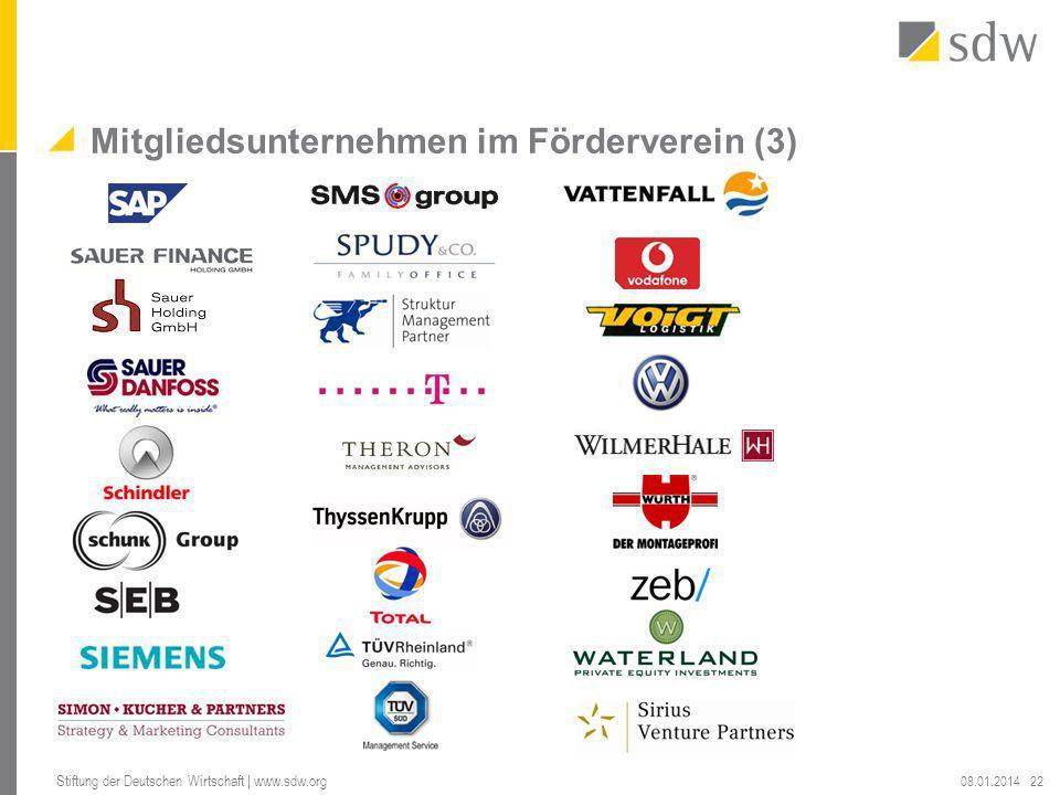 Mitgliedsunternehmen im Förderverein (3) 08.01.2014 Stiftung der Deutschen Wirtschaft | www.sdw.org 22