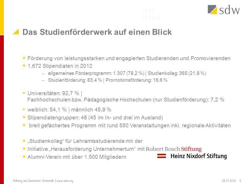 Förderung von leistungsstarken und engagierten Studierenden und Promovierenden 1.672 Stipendiaten in 2012 allgemeines Förderprogramm: 1.307 (78,2 %) |