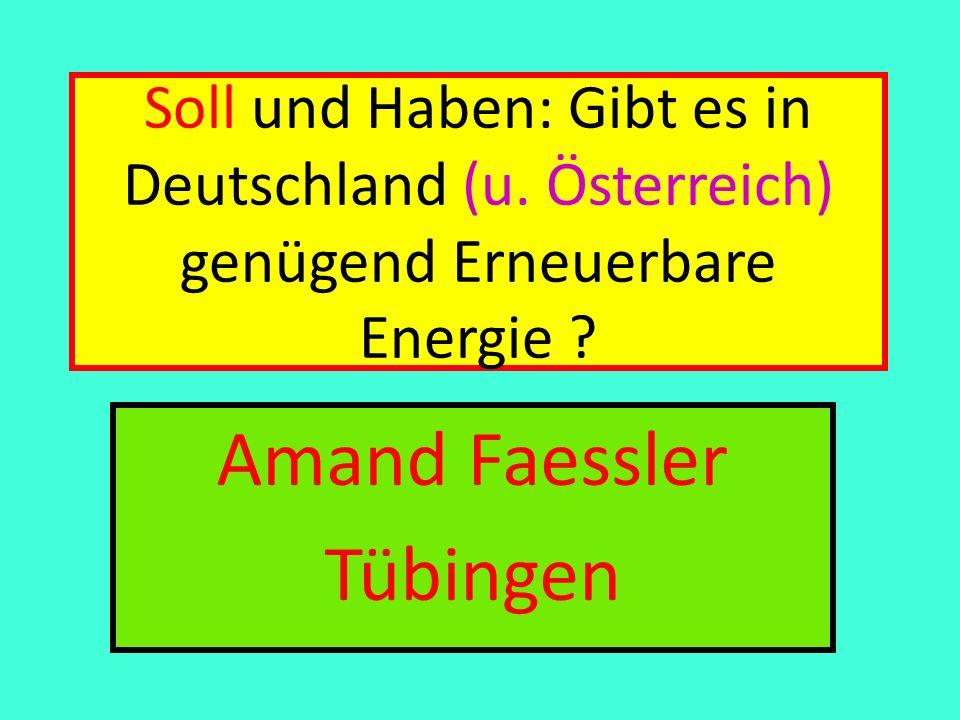 Soll und Haben: Soll: Auto 40 + Fliegen 28 + Bad-Küche 12 + Heizung 28 + Licht 1 Kleinigkeiten 5 + 15 Essen + 60 Zeug = 189 kWh/pd Haben: Wind an Land 15 (5) + Solar 53 (93) + Biomasse 26 + Wasserkraft 1 (7) + Meer- Windparks 14 (0) = 109 kWh/pd (131) Amand Faessler.