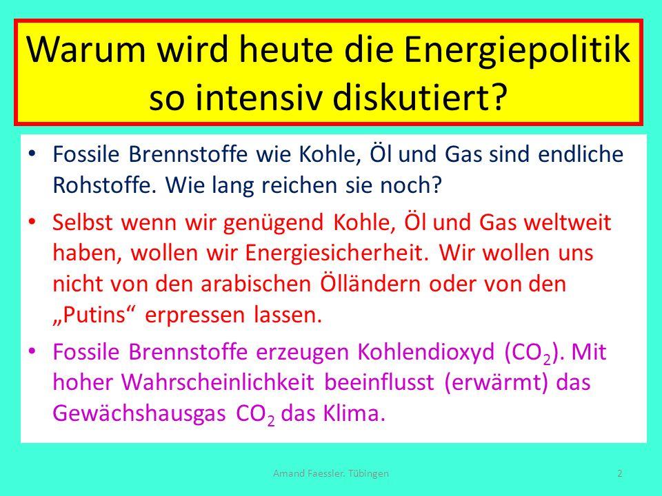 Zwischenbilanz: Soll und Haben Soll: Auto 40 + Fliegen 28 + Bad-Küche 12 + Heizung 28 + Licht 1 + Kleinigkeiten 5 = 114 kWh/pd Haben: Wind/Land 15 (5) + Sonne 53 (93) + Biomasse 26 (26) + Wasserkraft 1 (7) + Meer-Windparks 14 (0) = 109 kWh/pd (A: 131 kWh/pd) Amand Faessler.