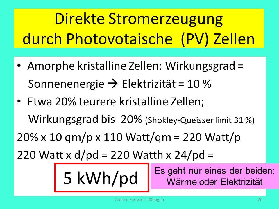 Direkte Stromerzeugung durch Photovotaische (PV) Zellen Amorphe kristalline Zellen: Wirkungsgrad = Sonnenenergie Elektrizität = 10 % Etwa 20% teurere
