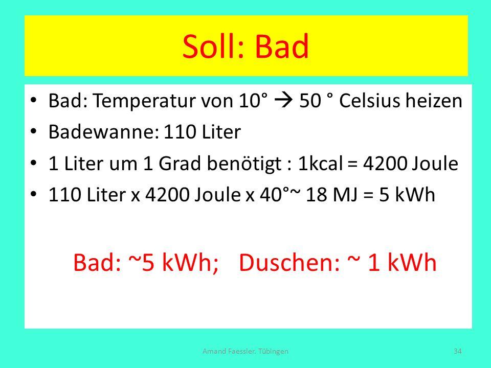 Soll: Bad Bad: Temperatur von 10° 50 ° Celsius heizen Badewanne: 110 Liter 1 Liter um 1 Grad benötigt : 1kcal = 4200 Joule 110 Liter x 4200 Joule x 40