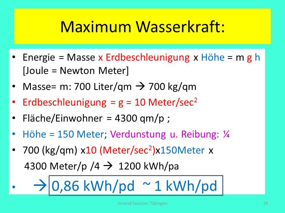 Maximum Wasserkraft: Amand Faessler. Tübingen39 Energie = Masse x Erdbeschleunigung x Höhe = m g h [Joule = Newton Meter] Masse= m: 700 Liter/qm 700 k