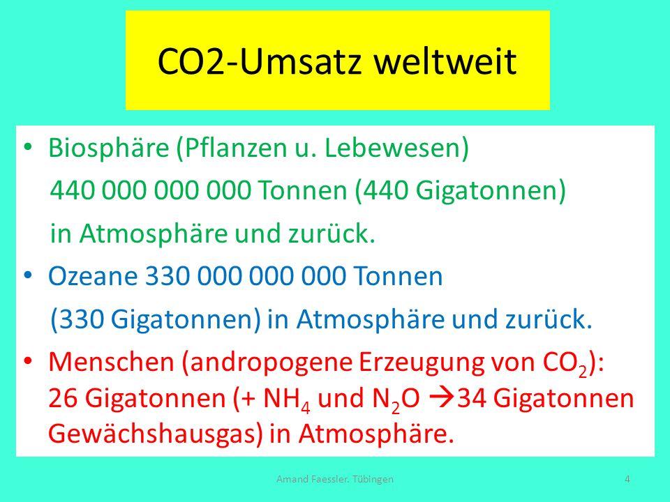CO2-Umsatz weltweit Biosphäre (Pflanzen u. Lebewesen) 440 000 000 000 Tonnen (440 Gigatonnen) in Atmosphäre und zurück. Ozeane 330 000 000 000 Tonnen
