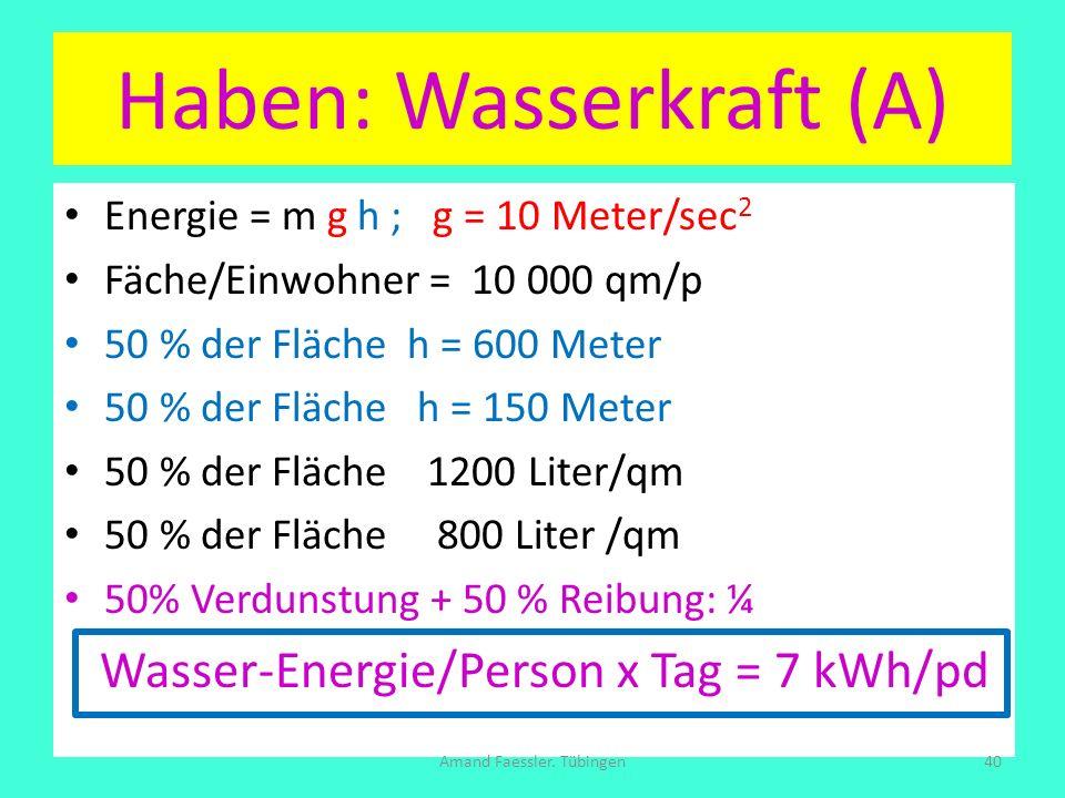 Energie = m g h ; g = 10 Meter/sec 2 Fäche/Einwohner = 10 000 qm/p 50 % der Fläche h = 600 Meter 50 % der Fläche h = 150 Meter 50 % der Fläche 1200 Li