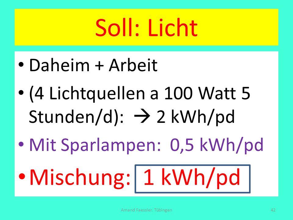 Soll: Licht Daheim + Arbeit (4 Lichtquellen a 100 Watt 5 Stunden/d): 2 kWh/pd Mit Sparlampen: 0,5 kWh/pd Mischung: 1 kWh/pd Amand Faessler. Tübingen42