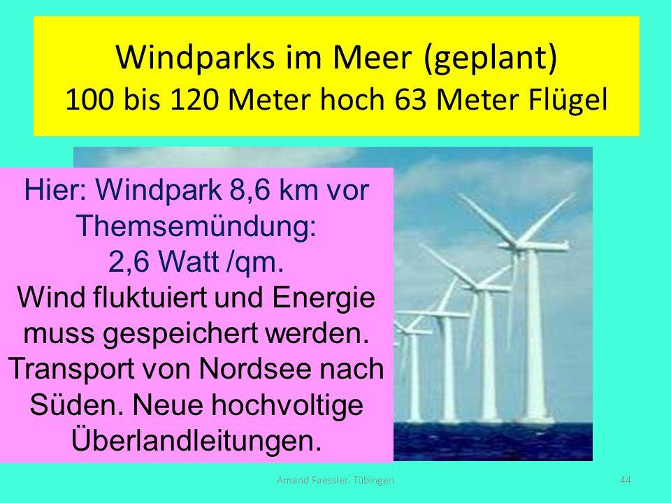 Windparks im Meer (geplant) 100 bis 120 Meter hoch 63 Meter Flügel Amand Faessler. Tübingen44 Hier: Windpark 8,6 km vor Themsemündung: 2,6 Watt /qm. W