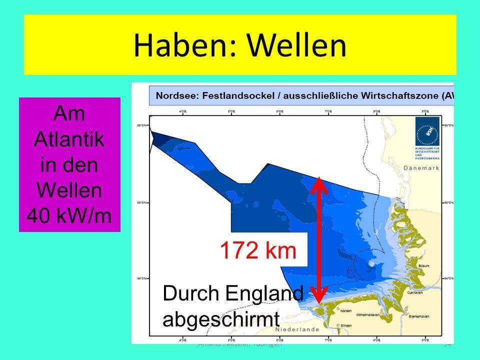 Haben: Wellen Amand Faessler. Tübingen54 172 km Am Atlantik in den Wellen 40 kW/m Durch England abgeschirmt