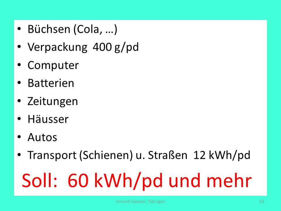 Büchsen (Cola, …) Verpackung 400 g/pd Computer Batterien Zeitungen Häusser Autos Transport (Schienen) u. Straßen 12 kWh/pd Soll: 60 kWh/pd und mehr Am