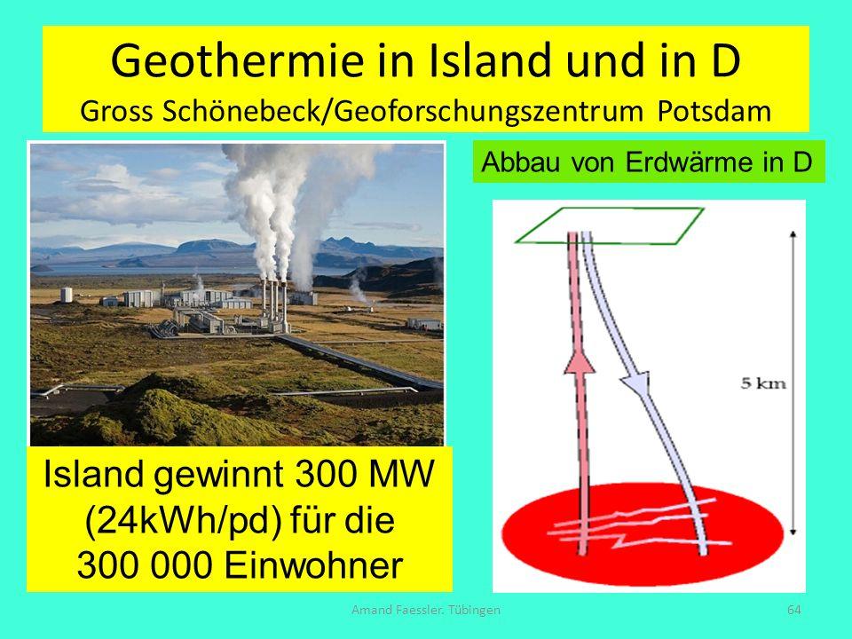 Geothermie in Island und in D Gross Schönebeck/Geoforschungszentrum Potsdam Amand Faessler. Tübingen64 Island gewinnt 300 MW (24kWh/pd) für die 300 00