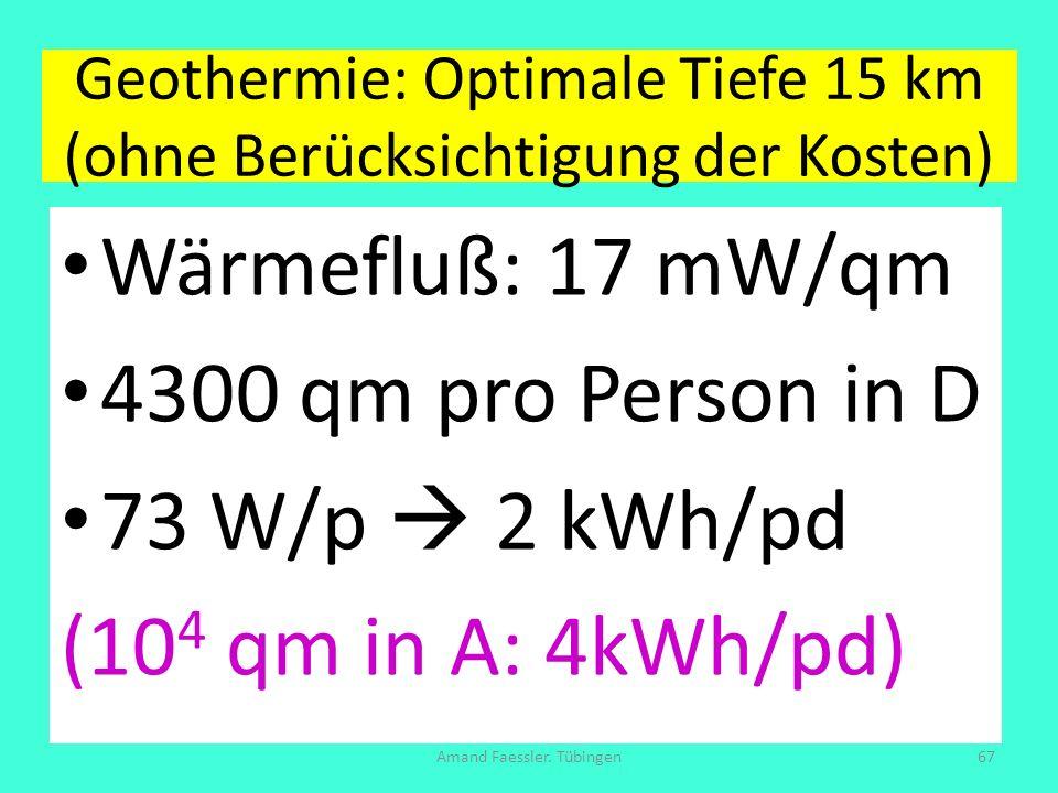 Geothermie: Optimale Tiefe 15 km (ohne Berücksichtigung der Kosten) Wärmefluß: 17 mW/qm 4300 qm pro Person in D 73 W/p 2 kWh/pd (10 4 qm in A: 4kWh/pd