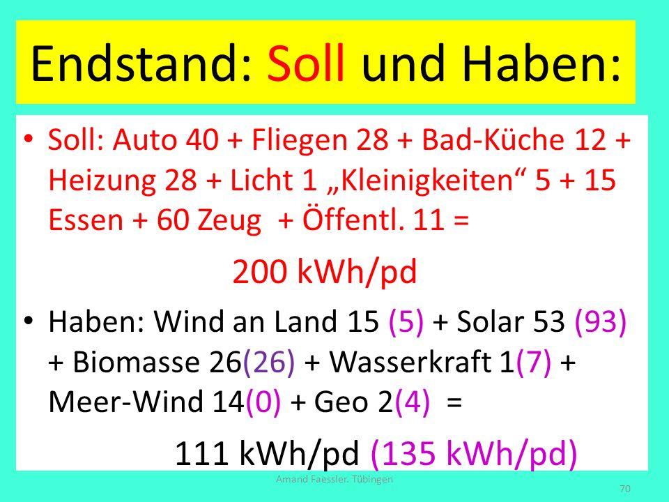 Endstand: Soll und Haben: Soll: Auto 40 + Fliegen 28 + Bad-Küche 12 + Heizung 28 + Licht 1 Kleinigkeiten 5 + 15 Essen + 60 Zeug + Öffentl. 11 = 200 kW