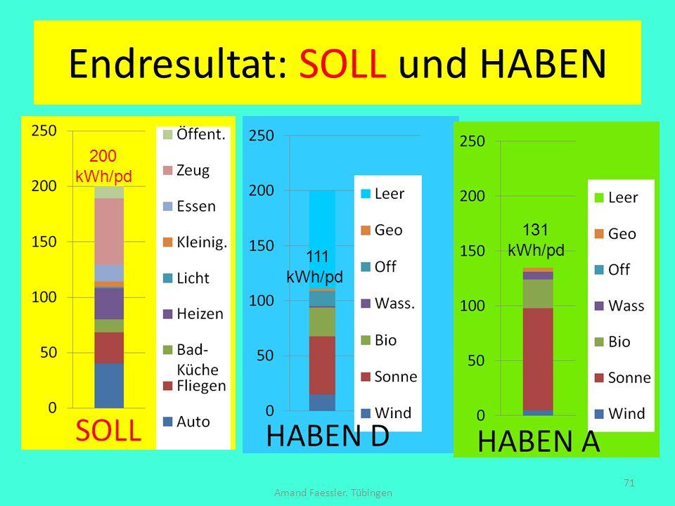 Endresultat: SOLL und HABEN Amand Faessler. Tübingen 71 200 kWh/pd 111 kWh/pd 131 kWh/pd