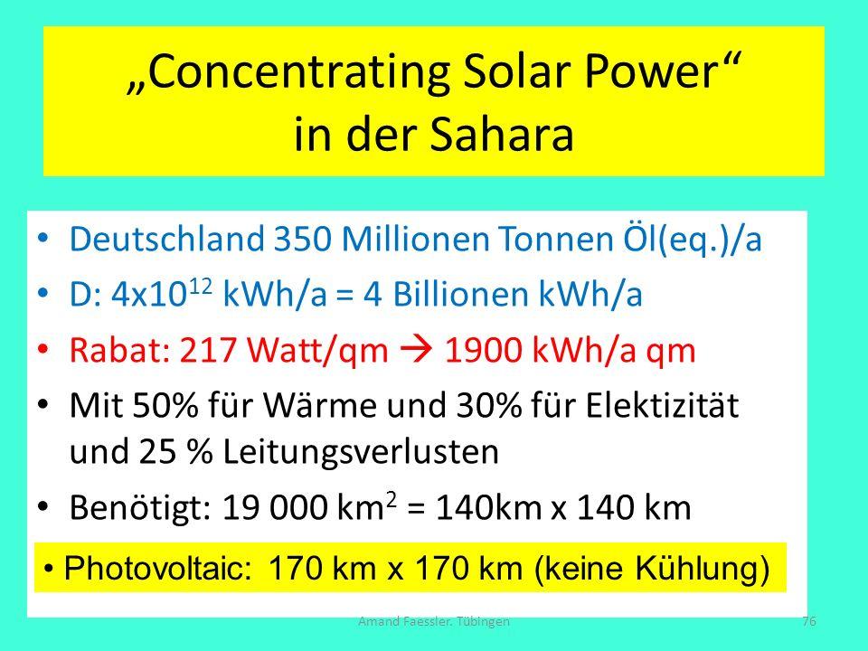 Concentrating Solar Power in der Sahara Deutschland 350 Millionen Tonnen Öl(eq.)/a D: 4x10 12 kWh/a = 4 Billionen kWh/a Rabat: 217 Watt/qm 1900 kWh/a