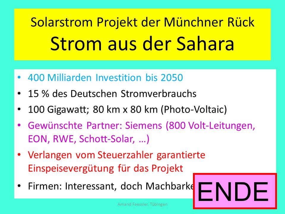 Solarstrom Projekt der Münchner Rück Strom aus der Sahara 400 Milliarden Investition bis 2050 15 % des Deutschen Stromverbrauchs 100 Gigawatt; 80 km x