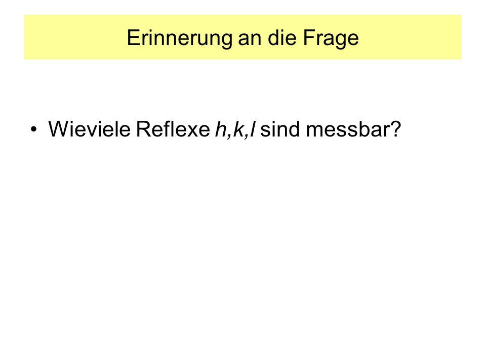 Erinnerung an die Frage Wieviele Reflexe h,k,l sind messbar?
