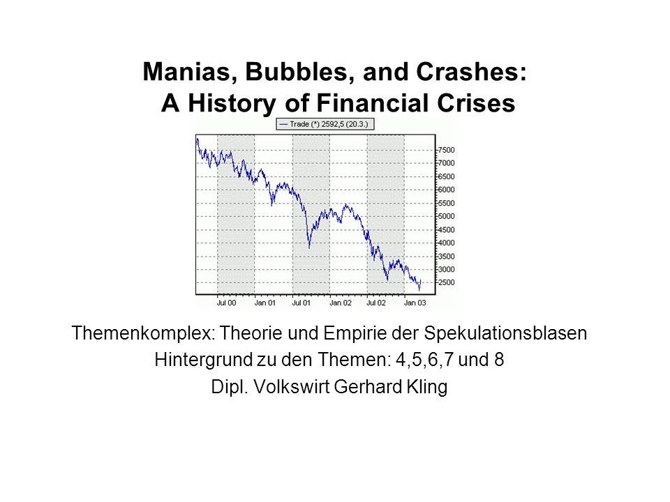 Manias, Bubbles, and Crashes: A History of Financial Crises Themenkomplex: Theorie und Empirie der Spekulationsblasen Hintergrund zu den Themen: 4,5,6,7 und 8 Dipl.