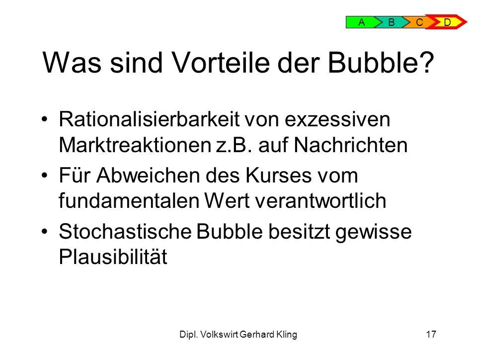 Dipl.Volkswirt Gerhard Kling17 Was sind Vorteile der Bubble.