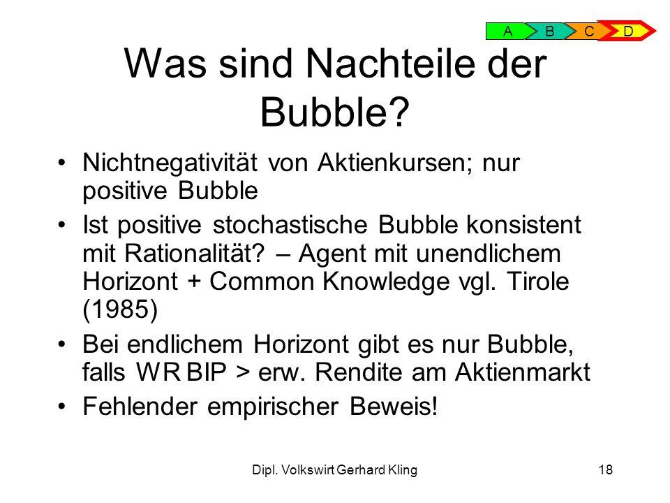 Dipl.Volkswirt Gerhard Kling18 Was sind Nachteile der Bubble.