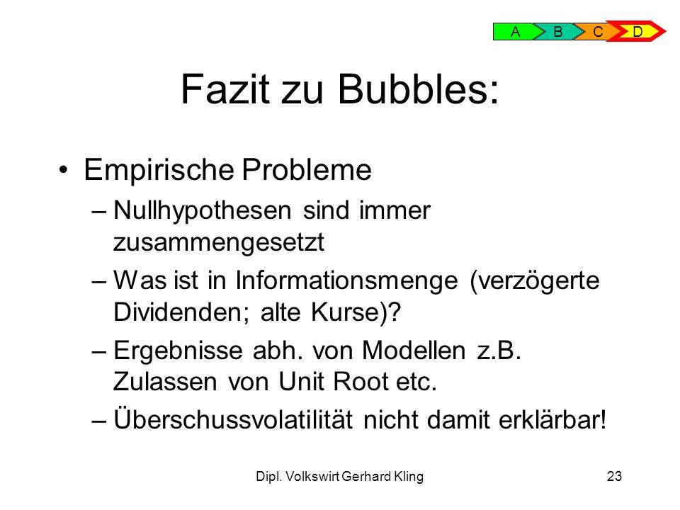 Dipl. Volkswirt Gerhard Kling23 Fazit zu Bubbles: Empirische Probleme –Nullhypothesen sind immer zusammengesetzt –Was ist in Informationsmenge (verzög