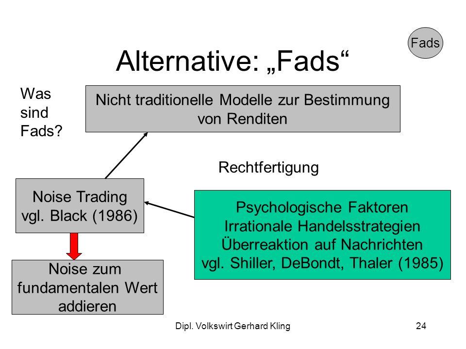 Dipl. Volkswirt Gerhard Kling24 Alternative: Fads Fads Nicht traditionelle Modelle zur Bestimmung von Renditen Was sind Fads? Noise Trading vgl. Black