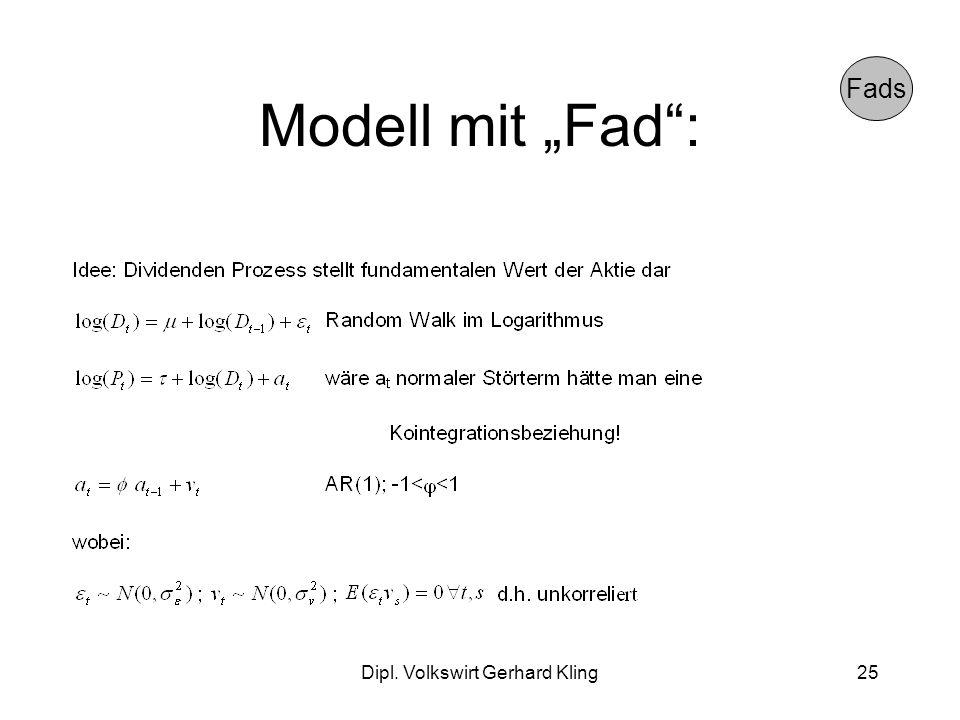 Dipl. Volkswirt Gerhard Kling25 Modell mit Fad: Fads