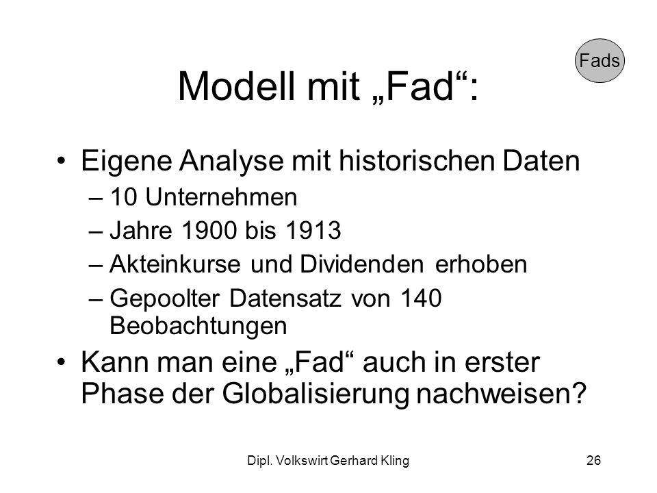 Dipl. Volkswirt Gerhard Kling26 Modell mit Fad: Eigene Analyse mit historischen Daten –10 Unternehmen –Jahre 1900 bis 1913 –Akteinkurse und Dividenden